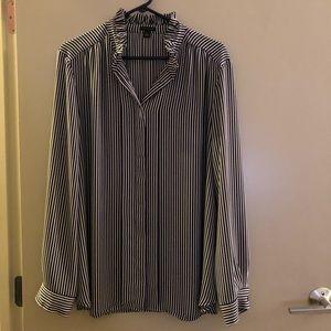 Ann Taylor pleat front ruffle neck blouse